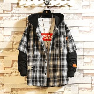 Sheck - Mock Two-Piece Plaid Hooded Jacket
