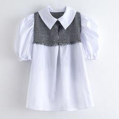 Starsavvy - 千鸟格拼接泡泡袖衬衫