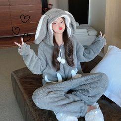 Sisyphi - Loungewear Set Coral Fleece Thick With Pajama