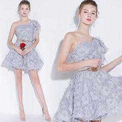 Sennyo - One-Shoulder Fringe Mini Prom Dress
