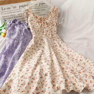 Lemongrass(レモングラス) - Tie-Shoulder Ribbon-Accent Floral Print A-Line Dress
