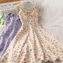 Lemongrass - Tie-Shoulder Ribbon-Accent Floral Print A-Line Dress