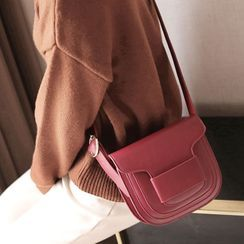 ENSSO - Genuine Leather Flap Crossbody Bag