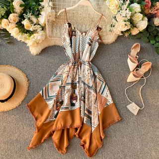 Lucuna - Patterned Tie-Waist Asymmetric Sundress