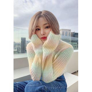 chuu - V-Neck Rainbow Crop Sweater