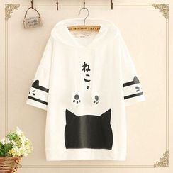 Kawaii Fairyland - Cat Print Short-Sleeve Hooded T-Shirt