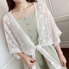 Vee Miny(ヴィーミニー) - 3/4-Sleeve Lace Trim Light Jacket