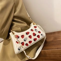 BAGuette - Strawberry Print Faux Leather Shoulder Bag
