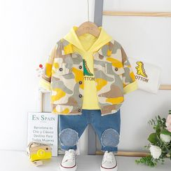 Mini Bae - Kids Set: Embroidered Hoodie + Camouflage Button Jacket + Jeans