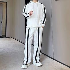 Citigleam - Set: Long-Sleeve Contrast Trim Hoodie + Sweatpants