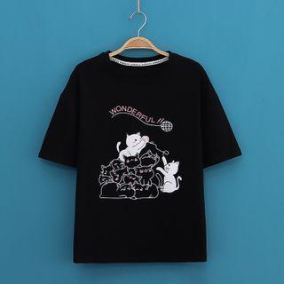 Kawaii Fairyland - Cats Print Short-Sleeve Tee