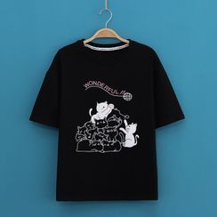 Kawaii Fairyland - Cats Print Short-Sleeve Tee