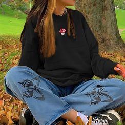 Sosana - Mushroom Embroidery Sweatshirt