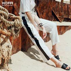 MOFFI - Contrast Trim Wide Leg Pants