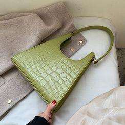 BAGSHOW - Croc Grain Faux Leather Shoulder Bag