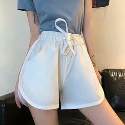 Wewewow - Plain Drawstring Shorts