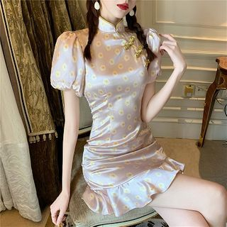 Dicezone - Mandarin Collar Floral Puff-Sleeve Ruffle Hem Mini A-Line Dress