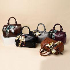 BAGSHOW - 仿皮圍巾蝴蝶結飾手提包