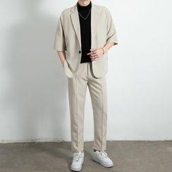 Bay Go Mall - Set: Elbow-Sleeve Blazer + Dress Pants