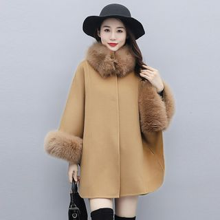 CHICHA - Faux Fur Trim Button-Up Poncho Coat
