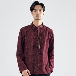 Ashen - Mandarin Collar Frog-Button Shirt