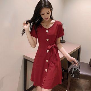 Sugar Town - Short-Sleeve Heart Buttoned A-Line Mini Chiffon Dress
