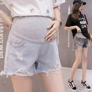 EZ Life - Maternity Distressed Stomach Lift Denim Shorts