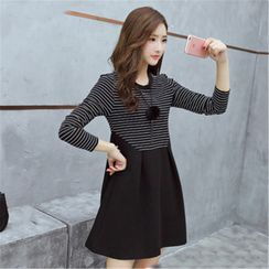 Carmenta - Long-Sleeve Striped Panel Mini A-Line Dress