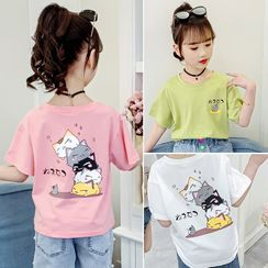 Qin Qin(チンチン) - Kids Short-Sleeve Printed T-Shirt