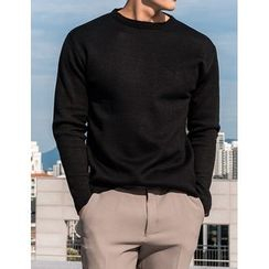 STYLEMAN - Crew-Neck Colored Knit Top