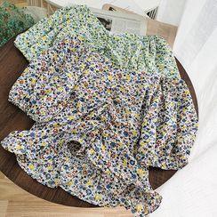 Miss Puff - 泡泡袖碎花短款襯衫