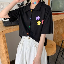Fabricino - Camiseta de manga corta con botones y estampado de flores