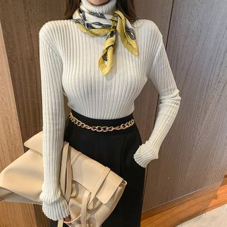 DABAGIRL - Turtleneck Fitted Rib-Knit Top