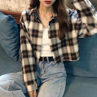 Sancus - Long-Sleeve Plaid Crop Shirt
