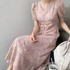 minaga - Short-Sleeve Floral Shirred Midi A-Line Dress