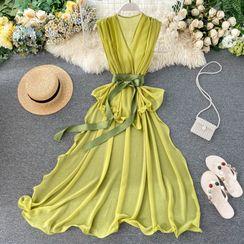 Lucuna - Sleeveless Tie-Front Midi Chiffon Dress