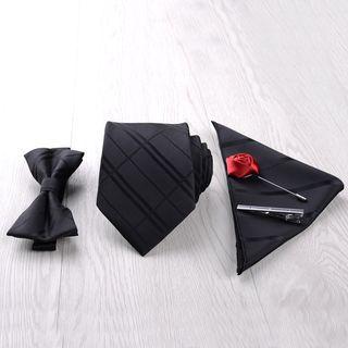 Prodigy - 套装: 领带 + 领带夹 + 蝴蝶结领带 + 口袋巾 + 花形翻领饰针