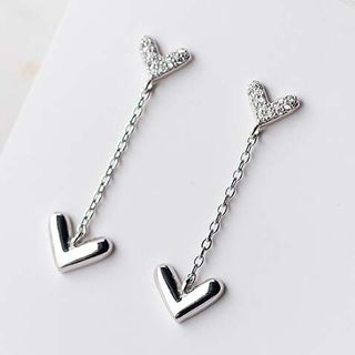 A'ROCH - 925 Sterling Silver Rhinestone Heart Drop Earrings