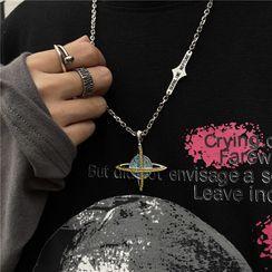 Porstina - Rhinestone Pendant Chain Necklace