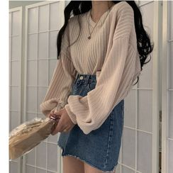 Whoosh - Lantern-Sleeve Knit Top