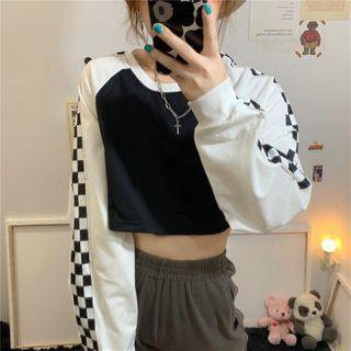 Donnae - Plaid Cropped Raglan Pullover