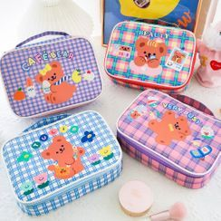 YUPIN - Bear Print Plaid Makeup Bag