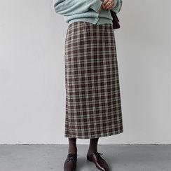 MERONGSHOP - Band-Waist Long Plaid Skirt