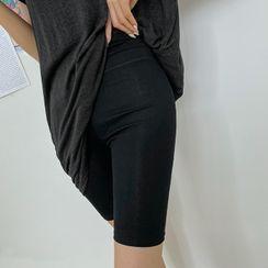 DABAGIRL - High-Rise Plain Biker Shorts