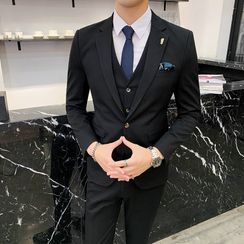 Blueforce - Set: Plain Single-Button Blazer + Single-Breasted Vest + Dress Pants