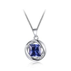 BELEC - 925 Sterling Silver December Birthday Stone Pendant with Blue Cubic Zircon and Necklace