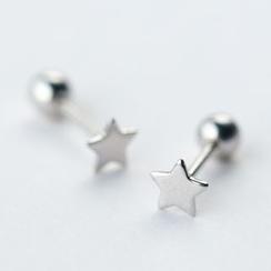 A'ROCH - Pendientes de botón con estrella en plata de primera ley