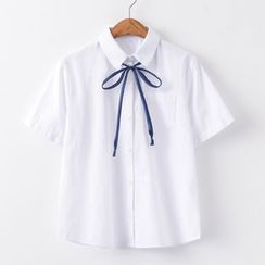 Candy House - Short-Sleeve Tie-Neck Shirt