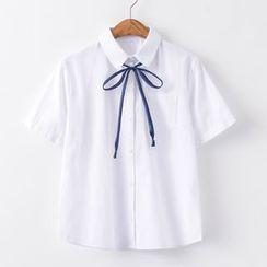 Candy House - 短袖領結帶襯衫