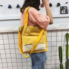 Behere - Contrast Panel Canvas Tote Bag